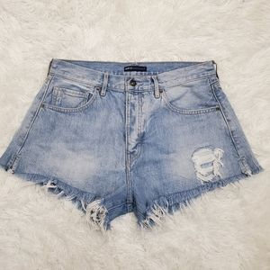 Levi's High Rise Distressed Booty Jean Shorts